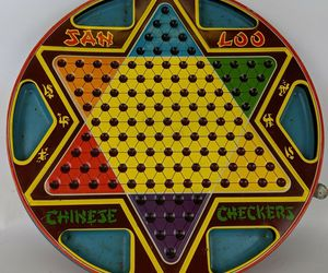 Vintage 1953 2-Sided Tin Lithographed Chinese Checkers by Northwestern Products, an item from the 'Community Picks: Game On...' hand-picked list