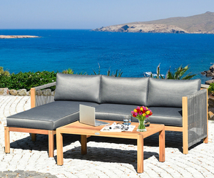 """3 Piece Patio Acacia Sofa Set with Nylon Armrest - Size: 52"""" x 26"""" x 25"""", an item from the 'Summer Outdoor Furniture' hand-picked list"""
