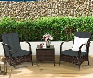 3 PCS Patio Rattan Furniture Set-Gray - Color: Gray, an item from the 'Summer Outdoor Furniture' hand-picked list