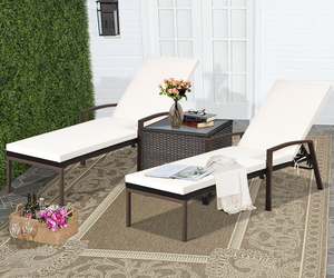 2 pcs Patio Rattan Adjustable Back Lounge Chair - Color: White, an item from the 'Outdoor Oasis' hand-picked list