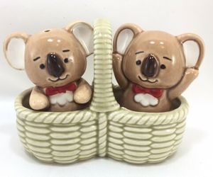 Takahashi KOALA BEARS Salt and Pepper Shakers in Ceramic Picnic Basket Bow-Ties, an item from the 'Community Picks: Invite An Animal to Your Table' hand-picked list