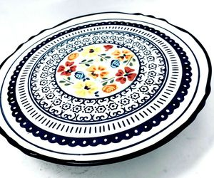Gibson Elite Luxembourg 1 Piece Stoneware Cake Plate Floral  Handpainted, an item from the 'Life is a Cake and Love is the Icing on Top of it.' hand-picked list