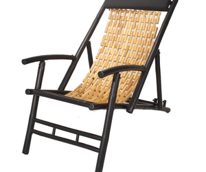 Black and Natural Bamboo Folding Sling Chair with Head Cushion, an item from the 'Outdoor Oasis' hand-picked list