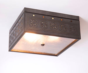 CEILING LIGHT Kettle Black Tin Square Pierced & Seedy Glass in Chisel Pattern, an item from the 'Cool Stuff' hand-picked list