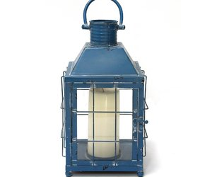 Distressed Blue Metal Lighthouse Lantern, an item from the 'Valentine's Day Perfect Gift' hand-picked list