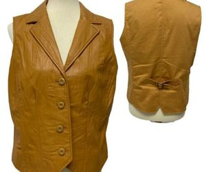 Coldwater Creek women's butterscotch tan leather lined vest size M (K3), an item from the 'Fabulous Fall Fashions' hand-picked list