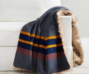 "Pendleton Yakima Luxury Faux Fur Back Stripe Throw 60 x 80"" Blue Multi Blanket, an item from the 'Hygge Life' hand-picked list"