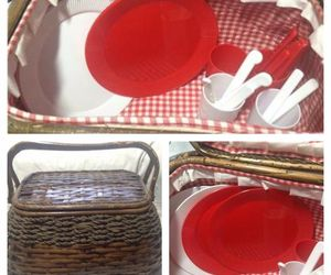 Wicker Picnic Basket LARGE Lined,  COMPLETE Serving Four-Picnic Ware, an item from the ' Pic·nick·ing' hand-picked list
