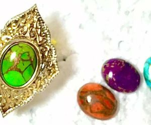 Turquoise Ring Green Blue Orange Purple INTERCHANGEABLE STERLING size 7 , an item from the 'Time For A Change...' hand-picked list