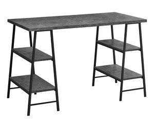"Modern Industrial Sawhorse Legs-4 Shelves-Home Office Computer Desk, 48""L, Grey, an item from the 'Home Office Necessities ' hand-picked list"