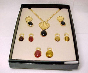 QVC Carved Gemstone SCARAB Necklace and Earrings BOX SET - Interchangeable, an item from the 'Time For A Change...' hand-picked list
