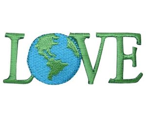 "Love Applique Patch - Planet, Earth Day, Environmental Badge 2-5/8"" (Iron on), an item from the 'Go Green' hand-picked list"
