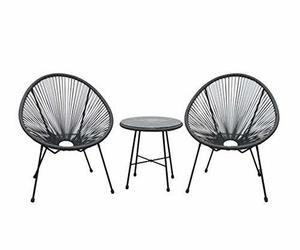 DUKAP Sassio 3 Piece Patio Seating Set with Two Chairs and One Coffee Table, Out, an item from the 'Outdoor Oasis' hand-picked list