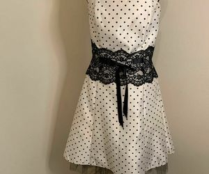 JESSICA MCCLINTOCK Gunne Sax Cream with Black Polka Dot Dress Sz 11, an item from the 'Connecting the dots' hand-picked list