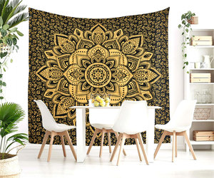 Queen Size Black Gold Lotus India Handmade Mandala Bed Sheet Home Decor Bohemian, an item from the 'Cool Stuff' hand-picked list