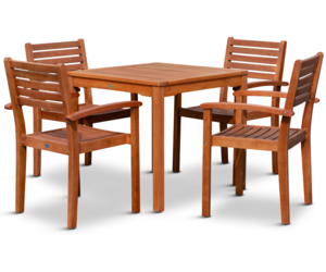 DTY Outdoor Living Leadville Eucalyptus Square Dining Set With 4 Stacking Chairs, an item from the 'Outdoor Oasis' hand-picked list