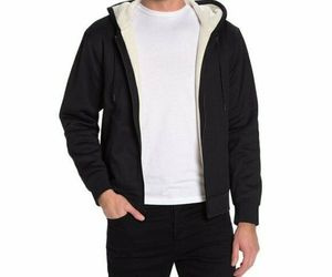 Vince Faux Shearling Lined Zip Hoodie ,Black Sz S, an item from the 'Sherpa and Fleece Hoodies' hand-picked list