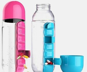 600 ML Water Bottle With Pill Travel Box Organizer Plastic Drinking Travel daily, an item from the 'Travel Organizers' hand-picked list
