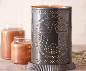 PUNCHED TIN CANDLE WARMER Handmade Accent Light Star Pattern in Country Tin USA, an item from the 'Valentine's Day Perfect Gift' hand-picked list