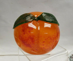 Beautiful CHUCK BOUX for SIGMA Art Glass Studio GEORGIA PEACH PAPERWEIGHT signed, an item from the 'Community Picks: Just Peachy' hand-picked list