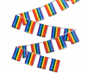 Rainbow Gay Pride 4x6 Inch Bunting Party Flags Banner (24 Flags 10 Meters Long), an item from the 'Show Your Pride' hand-picked list