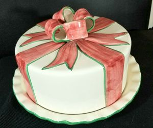 Covered Porcelain Cake Plate Ivory With Pink/Green Bow Accents Made in Portugal , an item from the 'Life is a Cake and Love is the Icing on Top of it.' hand-picked list