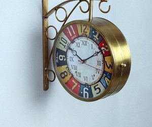 Gold Metal Colorful Dial Railway Station Clock, an item from the 'It's TIME to Spring Forward' hand-picked list