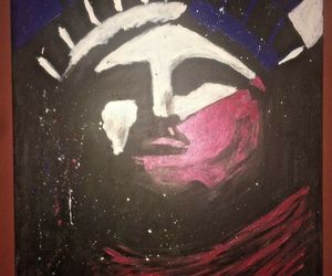 original Pop Art Statue of Liberty Lady Liberty on 18x24 stretched canvas, an item from the 'Community Picks: Lady Liberty' hand-picked list
