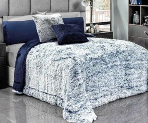 DEEP BLUE PLATINUM SOFT FLANNEL BLANKET WITH FAUX FUR AND THICK WADDING QUEEN, an item from the 'Hygge Life' hand-picked list