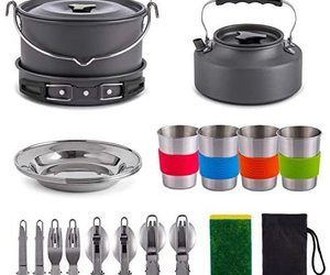 Gonex 11pcs/13pcs/16pcs/21pcs Camping Cookware Set Mess Kit, Backpacking Gear Co, an item from the 'Camping Gear' hand-picked list