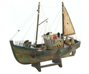 Rustic Fishing Shrimp Boat Ship Model Nautical Statue, an item from the 'Community Picks: Nautical Isle of Paradise' hand-picked list