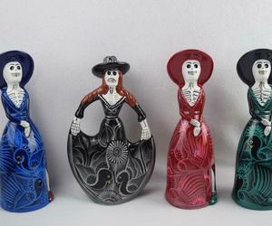 Day of the Dead Figurines Dia De Los Muertos Set of 4 Ceramic Mexico Folk Art, an item from the 'Dia de los Muertos ' hand-picked list