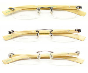 Bamboo Frame Light Weight Reading Glasses Men Women Rimless with Spring Hinge, an item from the 'Vision with Style' hand-picked list