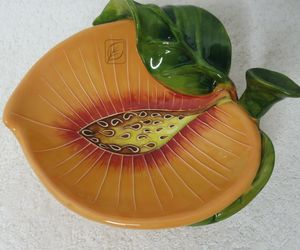 J. McCALL 2004 Version BLUE SKY Footed Peach Dish SIGNED, an item from the 'Community Picks: Just Peachy' hand-picked list