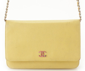 Chanel Coco Mark Lucky Clover Chain Wallet 24s Yellow Used Grade B, an item from the 'Handbags for Her' hand-picked list