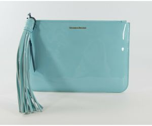 Dooney & Bourke Carrington Patent Leather Pale Blue Large Pouch Clutch Bag NWT, an item from the 'Cute Clutches' hand-picked list