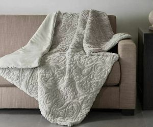"Madison Park Albany Ultra Plush Faux Fur Throw Blanket Grey Embossed 50"" x 60"", an item from the 'Hygge Life' hand-picked list"