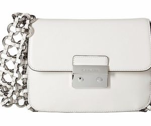 Michael Kors Nwt Piper Groß Klappe Optik Weißes Leder Schultertasche Ringe X, an item from the 'Handbags for Her' hand-picked list