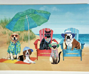 Dogs Cats at The Beach Umbrella Placemats Set of 4 Coastal Summer Beach House , an item from the 'Community Picks: Dog Days of Summer' hand-picked list