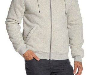 Slate & Stone Front Zip Faux Shearling Lined Hoodie Men's L Hoodie Light Grey, an item from the 'Sherpa and Fleece Hoodies' hand-picked list