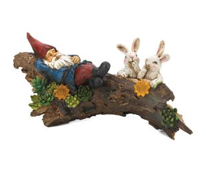 Sleeping Gnome With Bunnies Solar Statue, an item from the 'Community Picks: Believe in Mystical Magic' hand-picked list