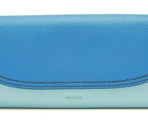 Fossil Cleo Flap Clutch Blue Leather Wallet SWL3095403 Purse NWT Retail FS, an item from the 'Cute Clutches' hand-picked list