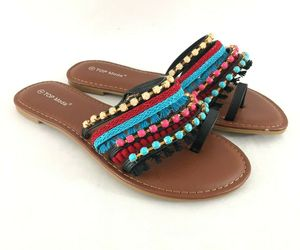 Top Moda Womens Sandals Toe Strap Fringe Beaded Boho Colorful Size 8, an item from the 'Boho Mom' hand-picked list