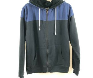 Threads 4 Thought Mens Hoodie Fleece Lined Full Zip Color Block Blue Black S, an item from the 'Sherpa and Fleece Hoodies' hand-picked list
