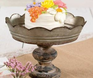 Rustic Country Farmhouse Decor Scalloped Galvanized Metal And Wood Dessert Stand, an item from the 'Life is a Cake and Love is the Icing on Top of it.' hand-picked list