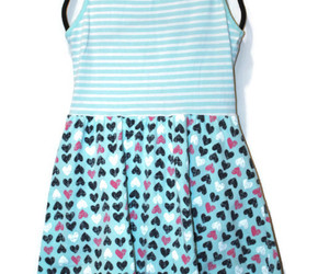 Jumping Beans Girls White Striped Aqua Stripe Heart Dress Easter Spring Summer 7, an item from the 'Spring Wear' hand-picked list