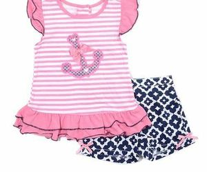 Girls size 4. 5 or 6X Nannette 2 piece sleeveless pink anchor tank & shorts B559, an item from the 'Spring Wear' hand-picked list