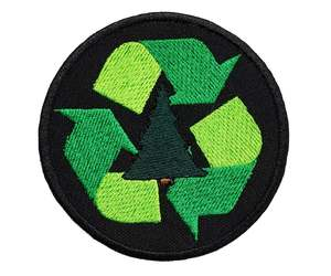 "Recycle Embroidered Applique Iron On Patch 3"" Reduce Reuse Sign Scouts Earth Wor, an item from the 'Earth Day... Recycle, Reuse, Reduce' hand-picked list"