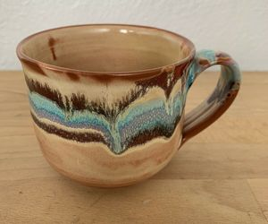 Vintage art Boho clay pottery mug Coffee Cup, an item from the 'Boho Mom' hand-picked list