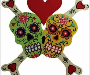 FUNKY FLORAL SKULLS IN LOVE-Skull Bones Heart Red&Ivory/OR green/yellow, an item from the 'Skulduggery' hand-picked list